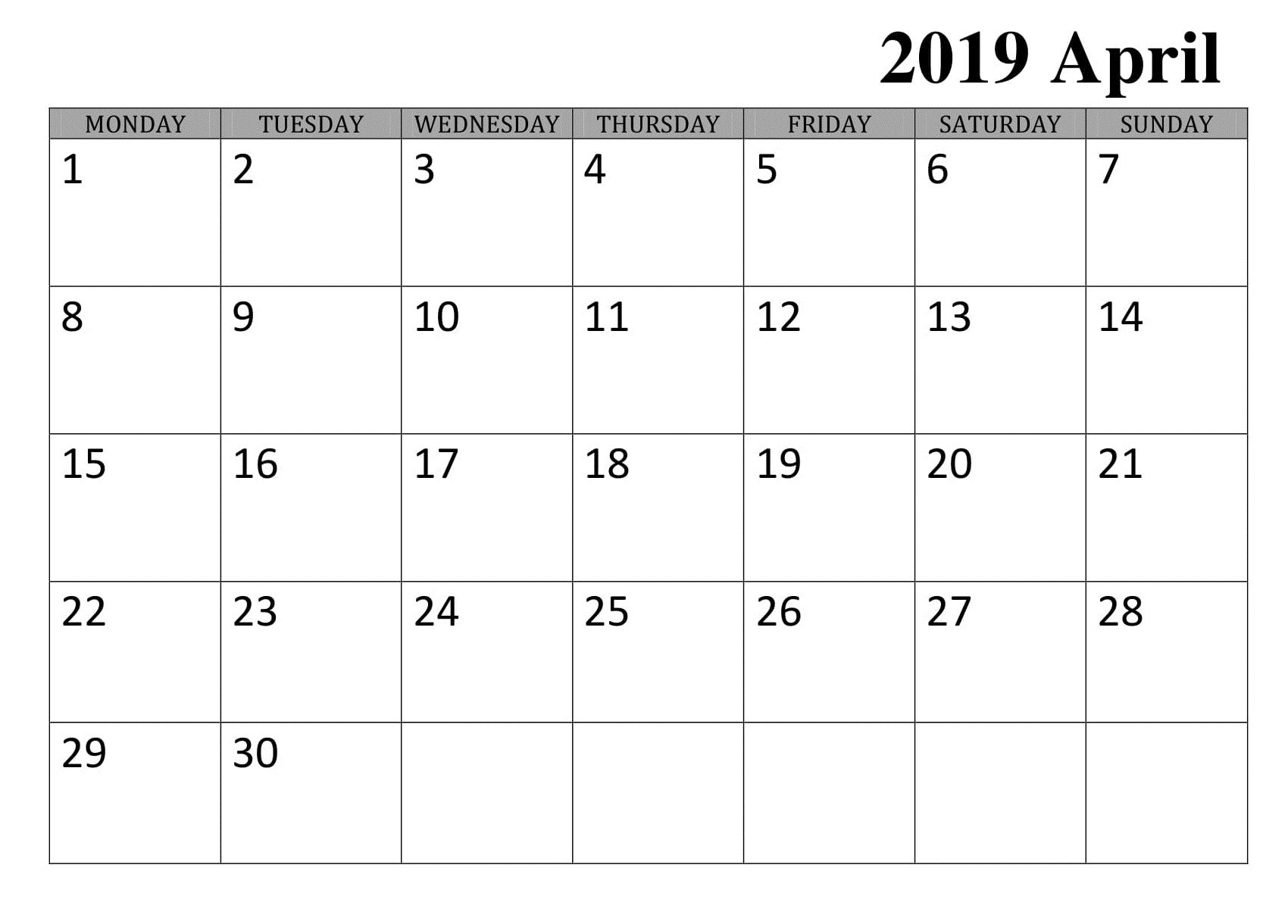 April Daily Calendar Template 2019