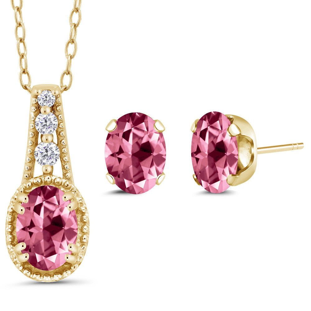 K yellow gold pendant earrings set xmm set with pink topaz from