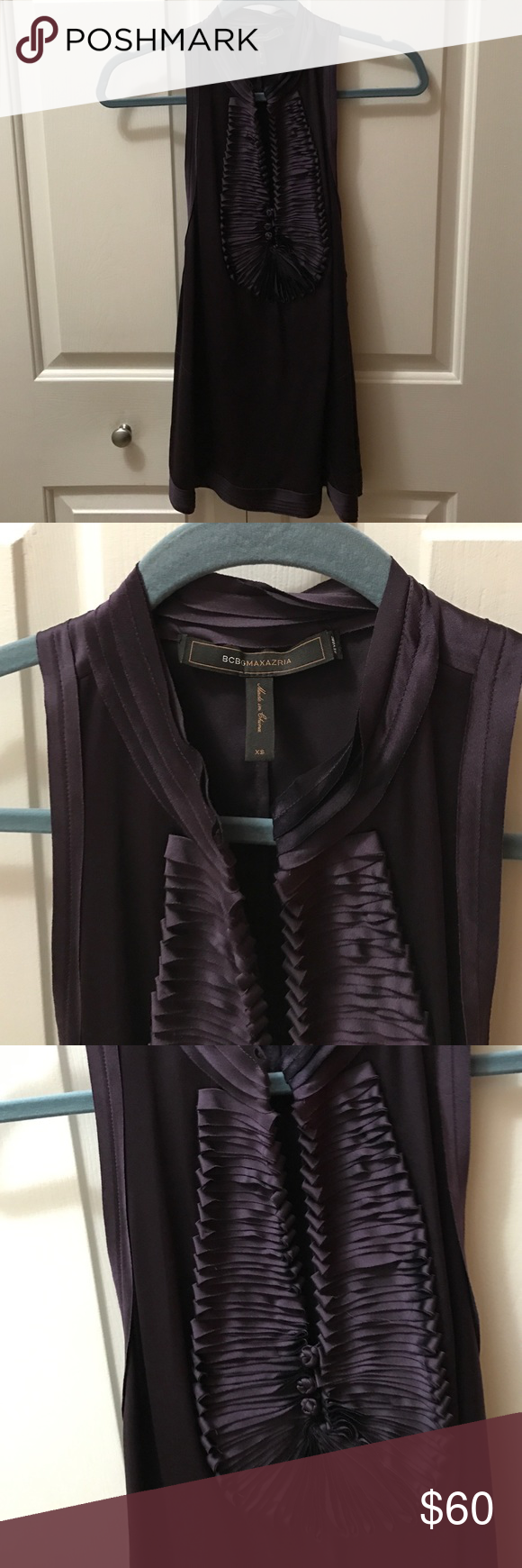 BCBG Eggplant Tank Top Worn once for headshots. Great shirt for pictures or going out. Silk like material. Super comfortable and flattering. BCBGMaxAzria Tops