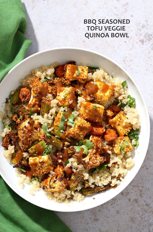 Tofu And Veggie Bbq Bowl With Homemade Bbq Seasoning Recipe Vegan Bowl Recipes Healthy Vegan Snacks Vegan Bbq Sauce