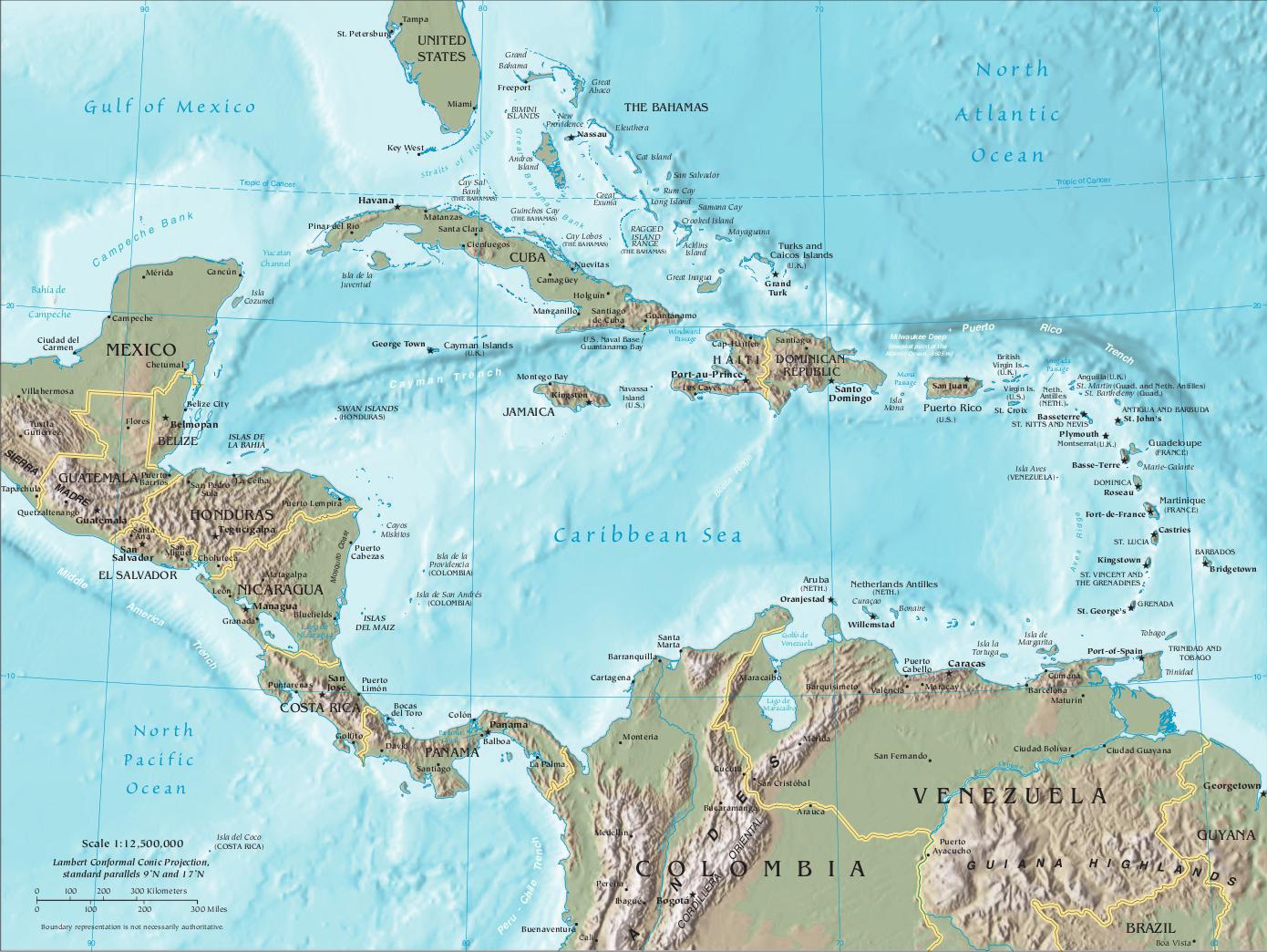 Cia Map Central America Caribbean Png 1390 1044 Belize Karibik Panama