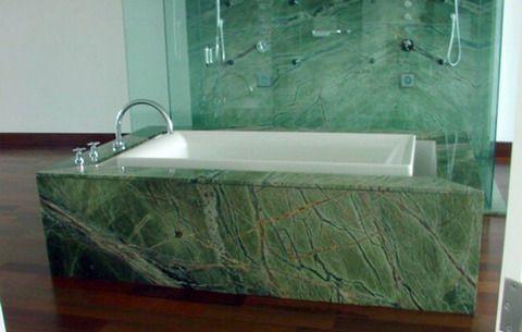Green Granite Showers : Dark green marble tub and shower