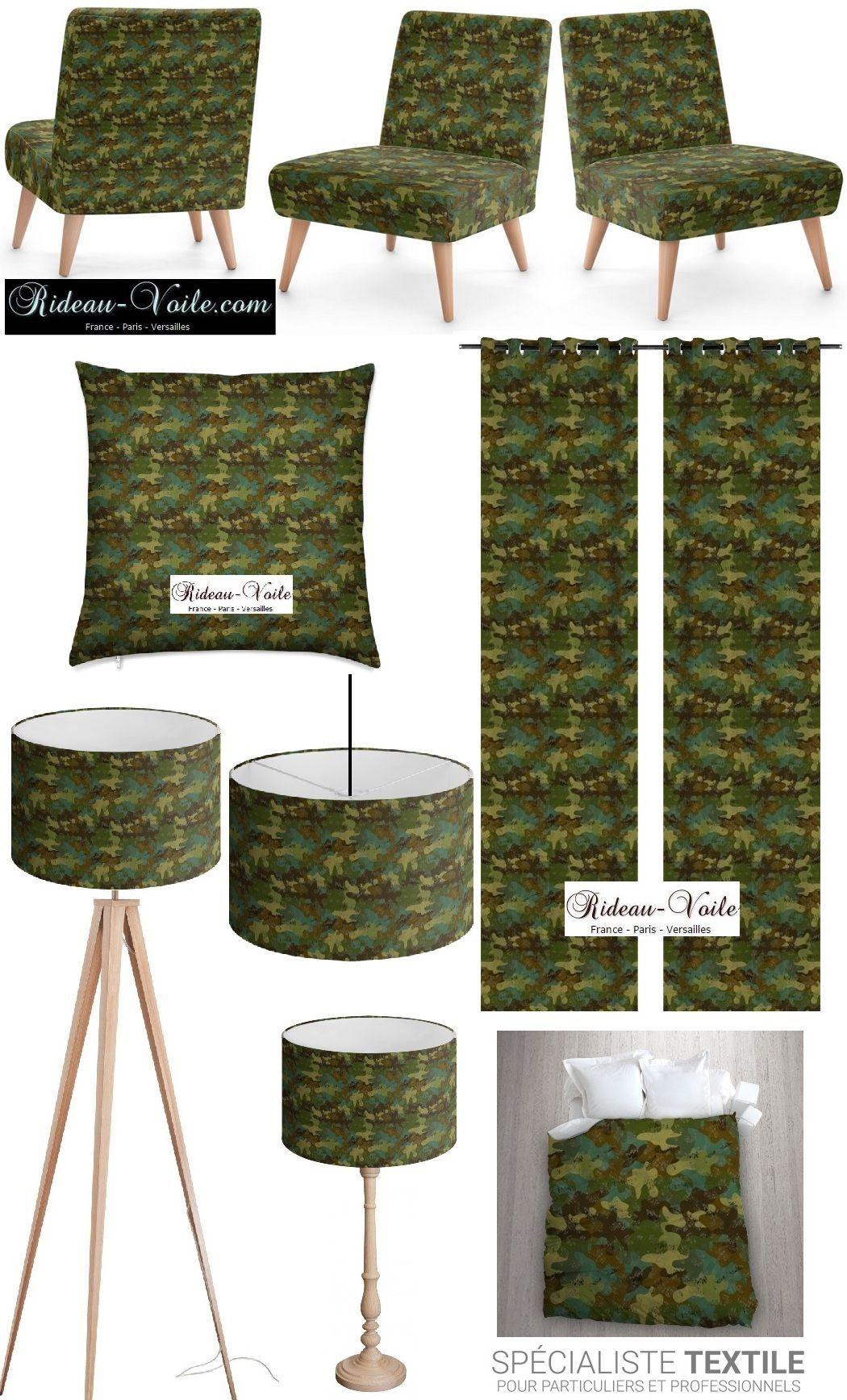 tissu_camouflage_ameublement_décoration_rideau_coussin-couette ...