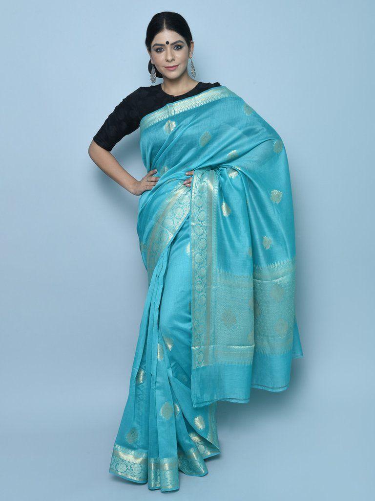 703f6d91658be Sky Blue Handwoven Kora Cotton Banarasi Saree