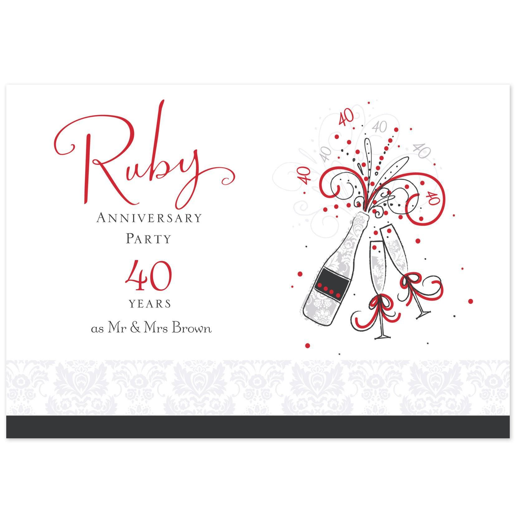 Ruby Anniversary Invitations Uk Anniversary Invitations