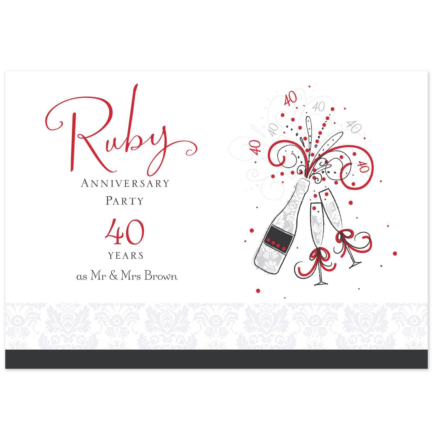 Ruby Anniversary Invitations Uk