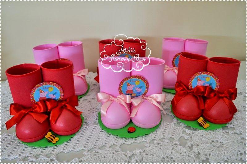 Botinhas para decoração ou centro de mesa Peppa Pig