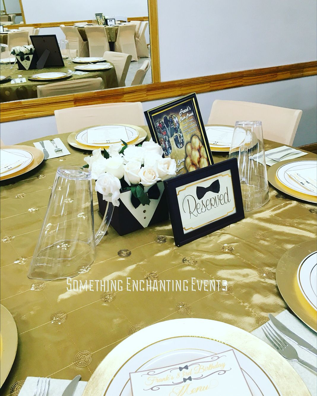 21st Birthday Table Arrangements: Bow Tie Flower Boxes For The Centerpieces For A Very
