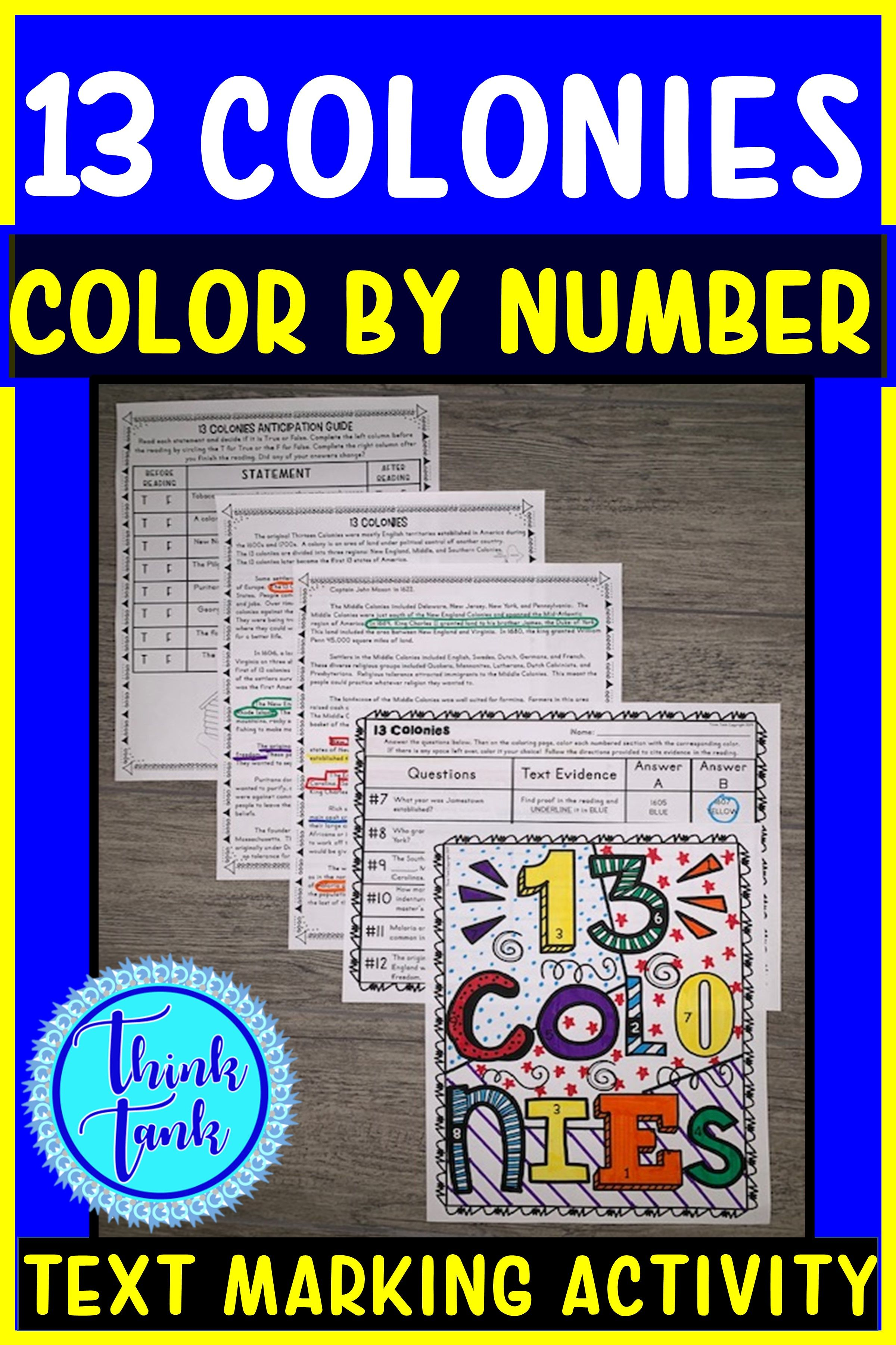 13 Colonies Color By Number Activity With Reading Passage