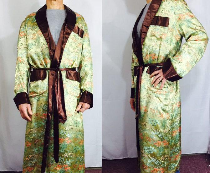 Vintage Robe Chinese Mens Satin Smoking Jacket Dressing