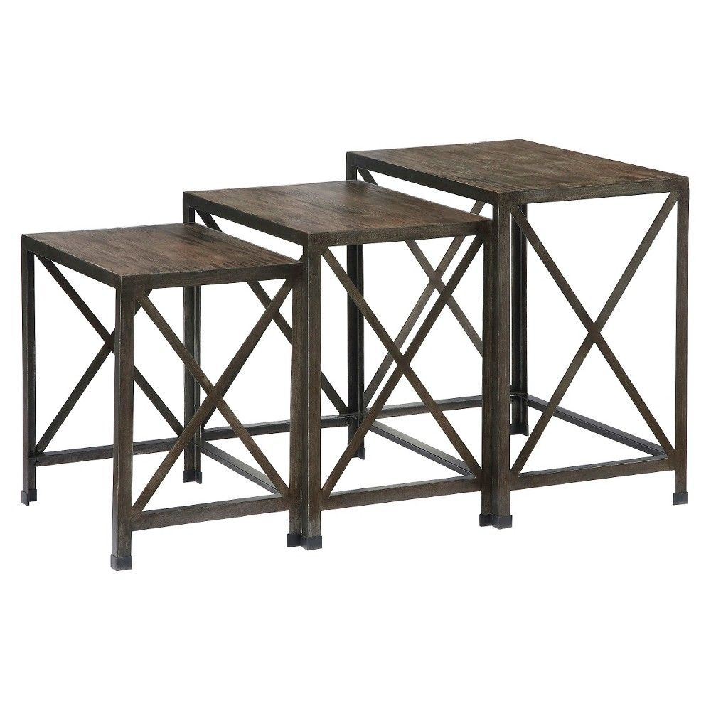 Vennilux Nesting End Tables Gray/Brown (Set of 3) - Signature Design by Ashley, Earthworm Gray/Fawn