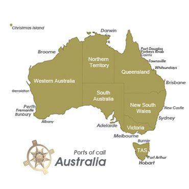 Australian Ports Of Call Map Discover Australia Pinterest - Melbourne cruise ship terminal map