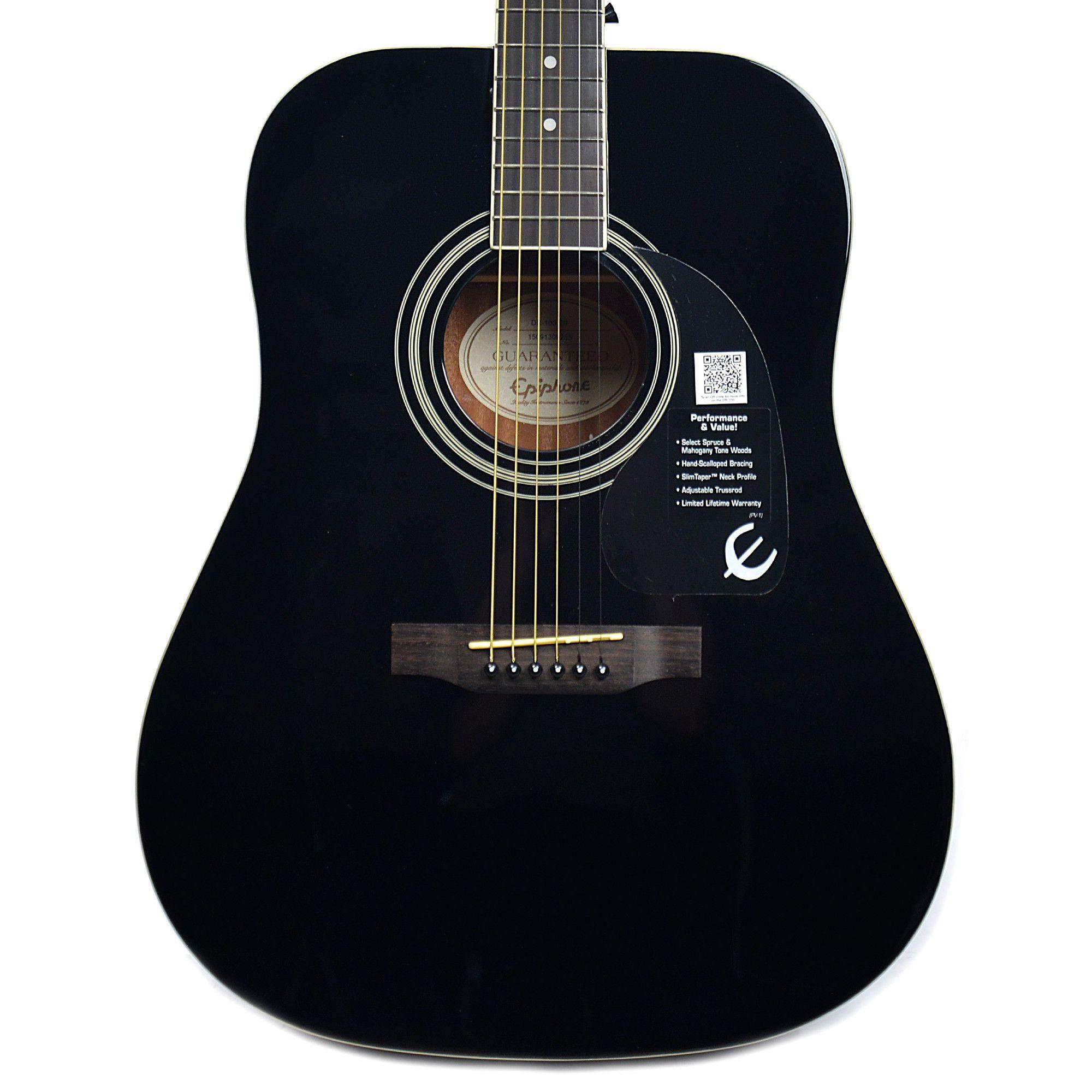 Epiphone Dr 100 Dreadnought Acoustic Ebony Epiphone Acoustic Acoustic Guitar