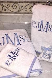 Fishtail Monogram Towel Set Luxurious Monogrammed Bath Towels Personalized