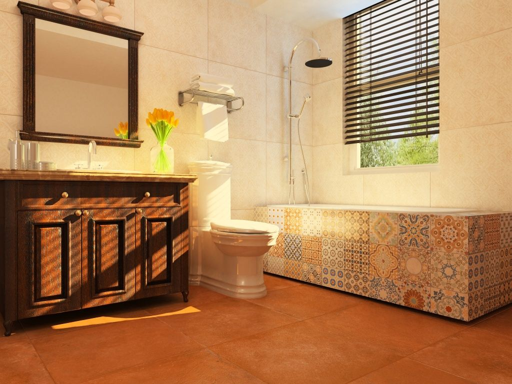 Contemporary Spanish-style #bathroom with clay color #tile and ...