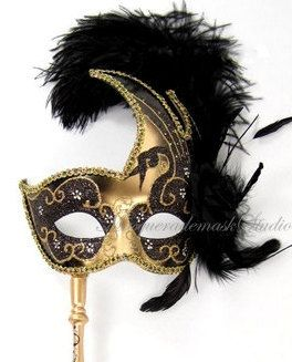 Stick Half Mask Feather Purple Masquerade Mask with Stick  - side purple feather roses Tussel