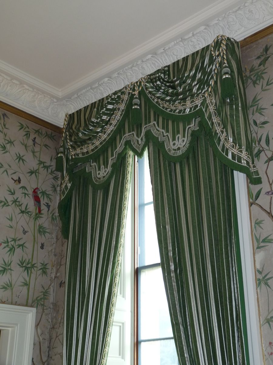 Chatsworth House Deep Green And Silver Narrow Woven