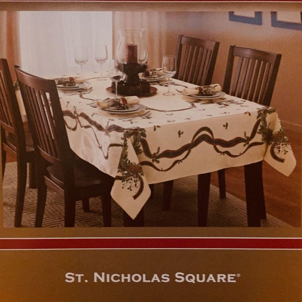 St Nicholas Square Christmas Ribbon New Tablecloth 60 X 84 Oval