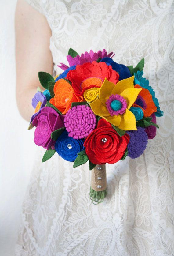 Mazzo Di Fiori Feltro.Feltro Fiore Bouquet Da Sposa Gioiello Tono Di Sugarsnapboutique
