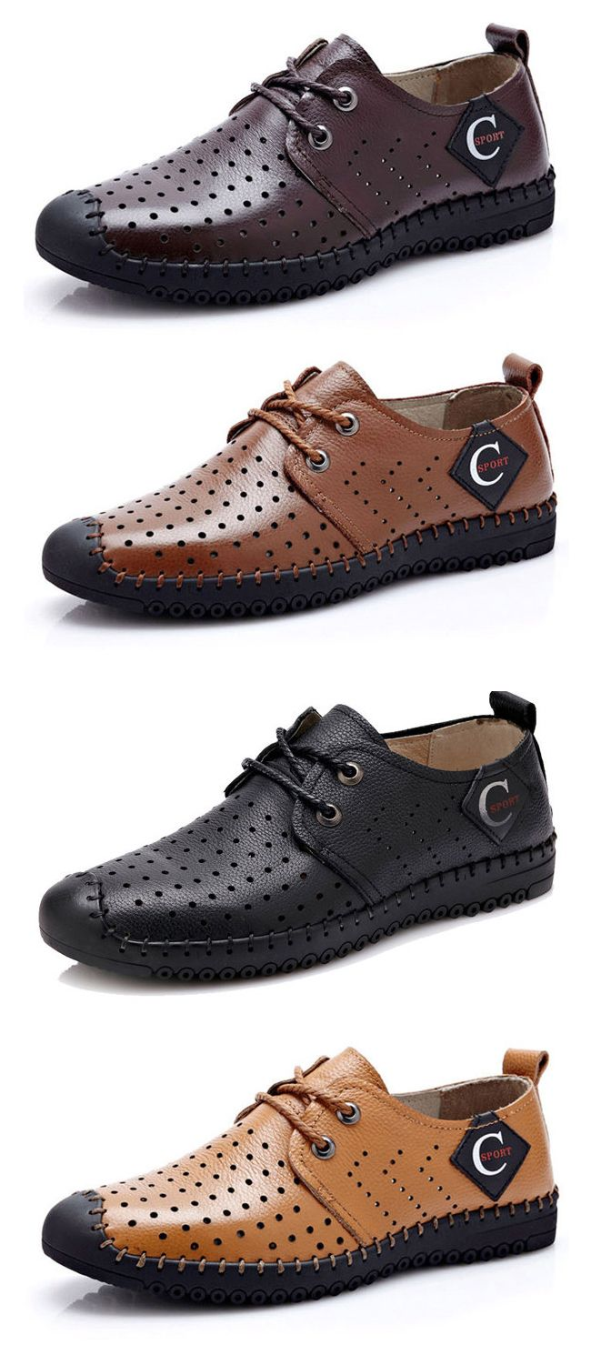Men Anti-slip Breathable Hollow-out Outdoor Casual Leather Shoes sale largest supplier hK8Zo6qoS
