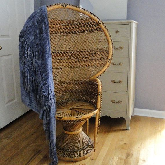 Vintage Peacock Fan Chair Chinoiserie High Back. I Have 2 Of These And 2  Matching End Tables