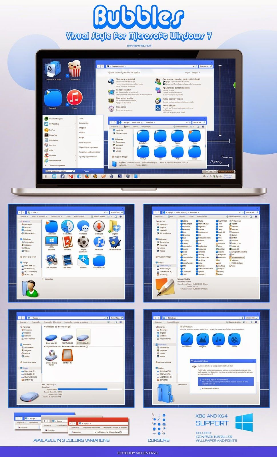 Bubbles Theme + (Icon Pack) for Windows 7 | Cleodesktop - Mod