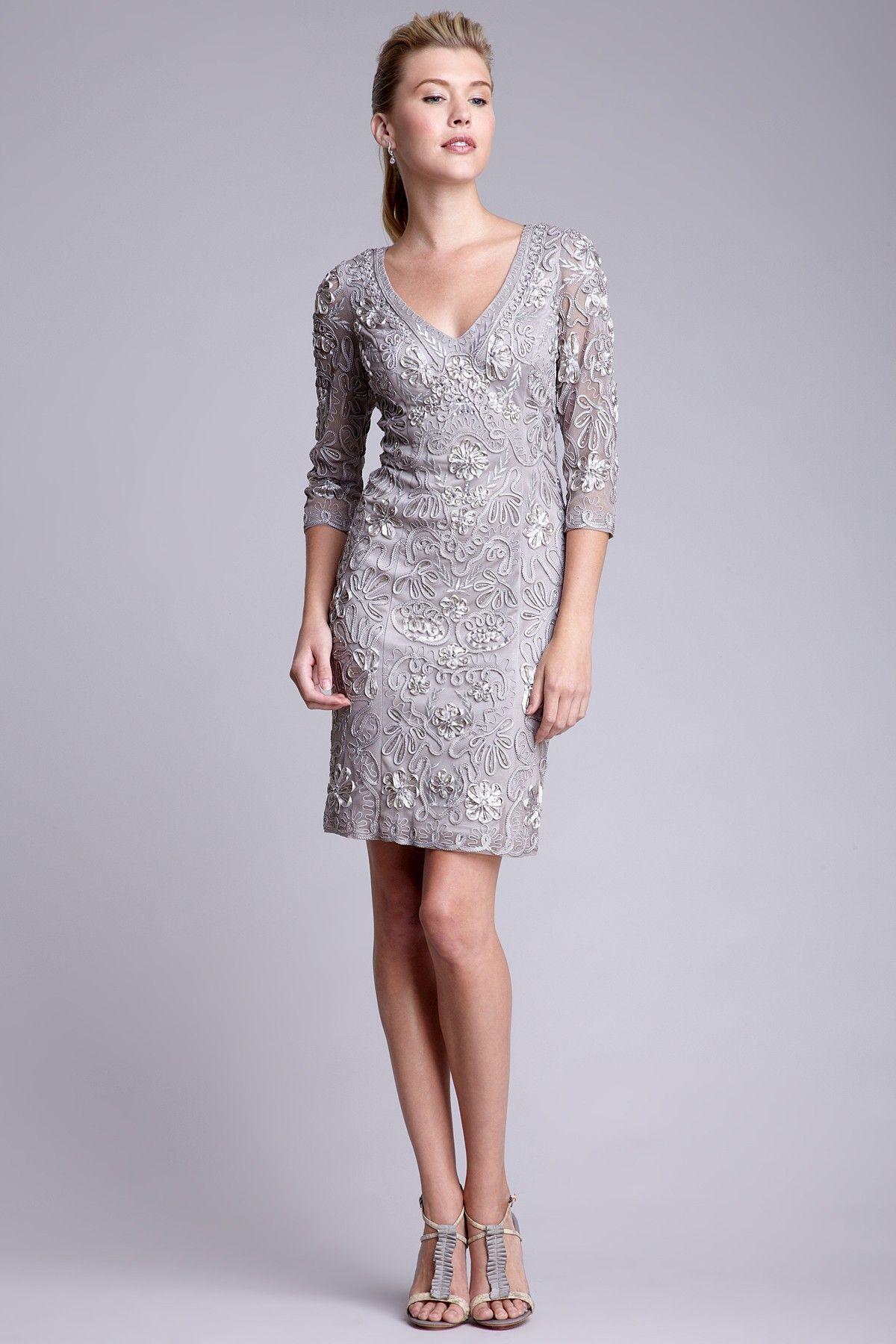 Sue wong embellished sleeve patterned lace short dress