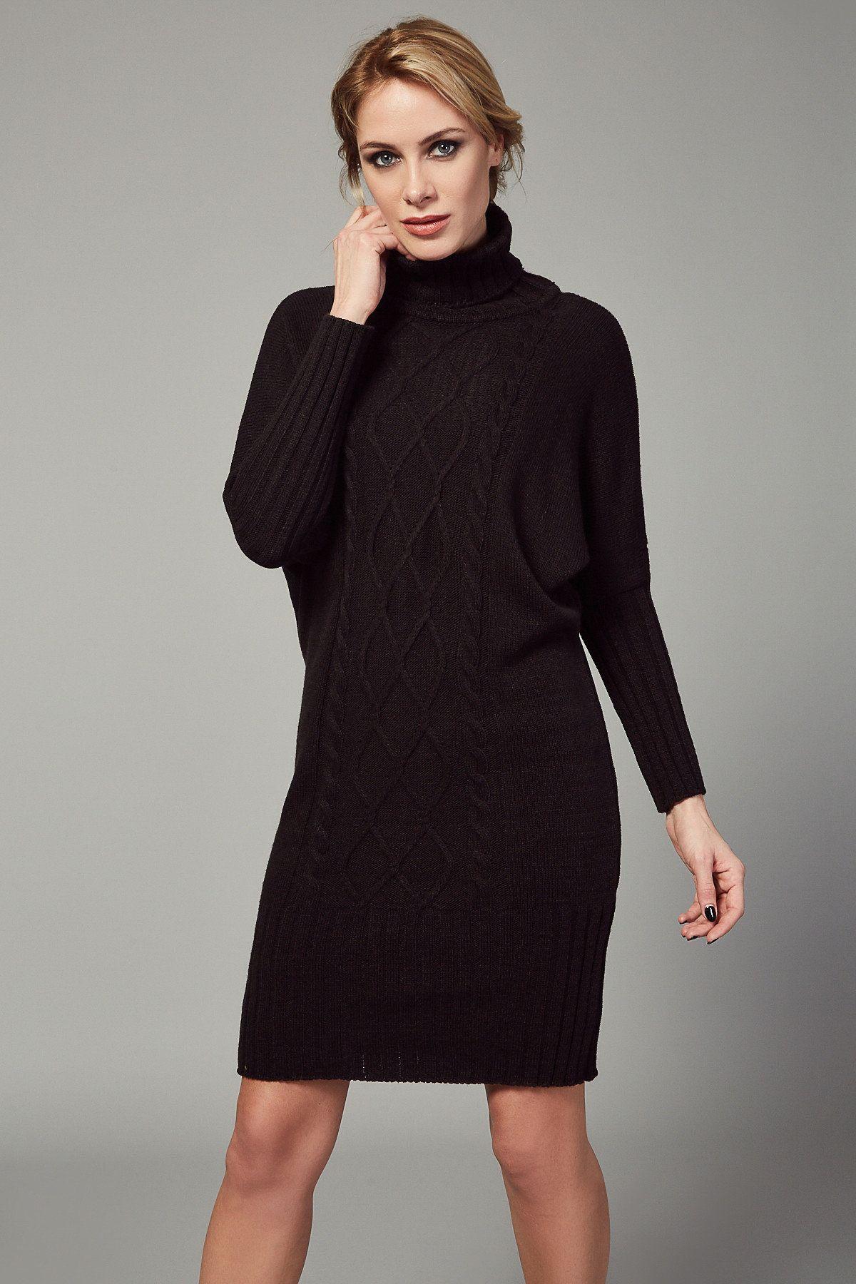 Kadin Siyah Balikci Yaka Balon Kollu Triko Elbise Happiness Ist Trendyol Triko Siyah Balikci Yaka Moda Stilleri