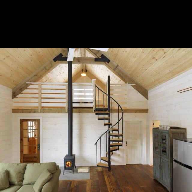 18 Loft Staircase Designs Ideas: A Frame With Spiral Stair