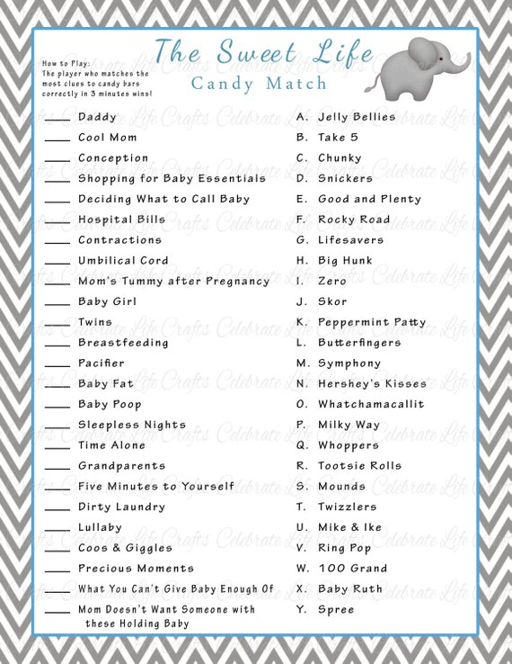 image relating to Baby Shower Candy Bar Game Printable named Boy or girl Shower Cute Existence Sweet Bar Recreation Match - Printable Boy or girl