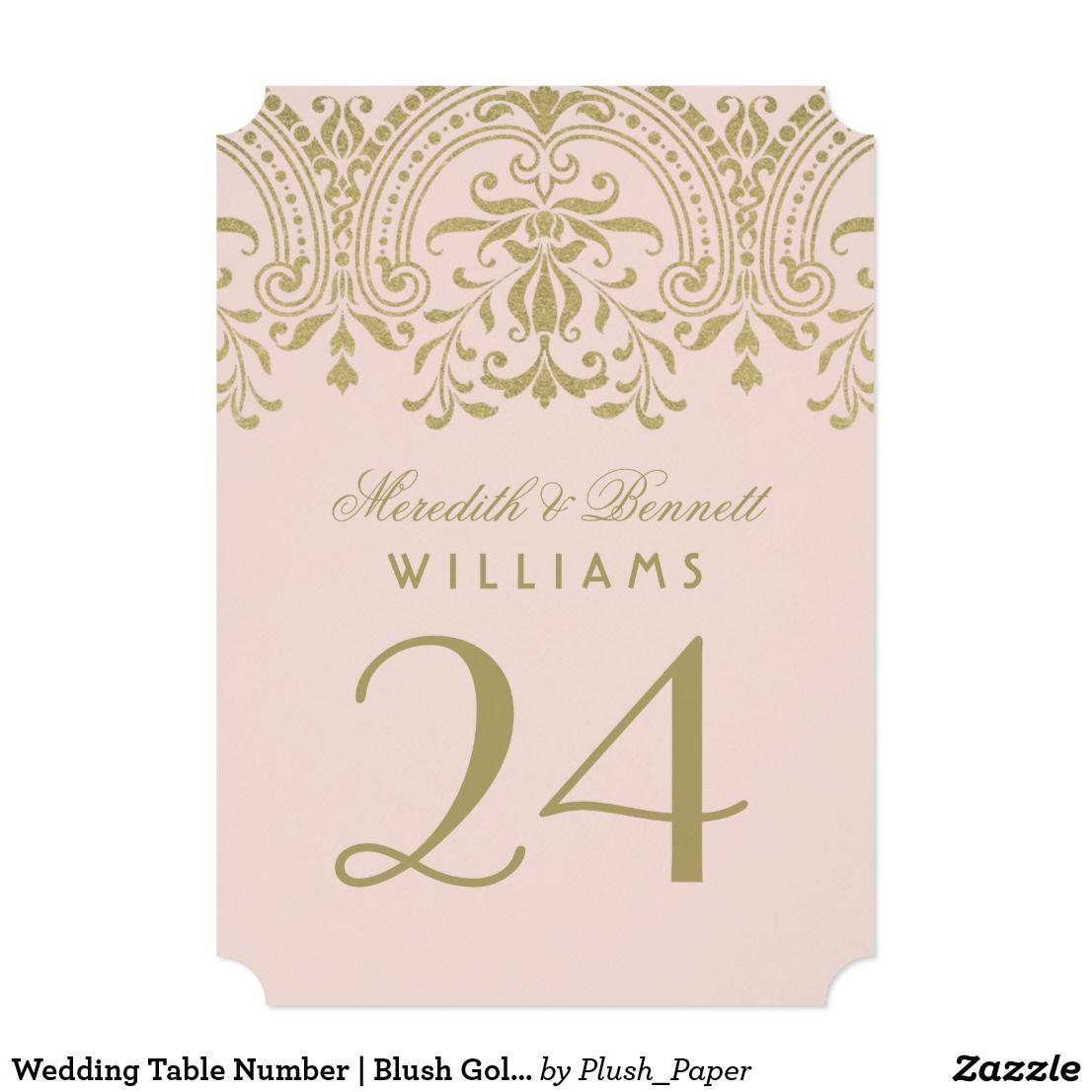 Wedding Table Number | Blush Gold Vintage Glamour Card | Vintage ...