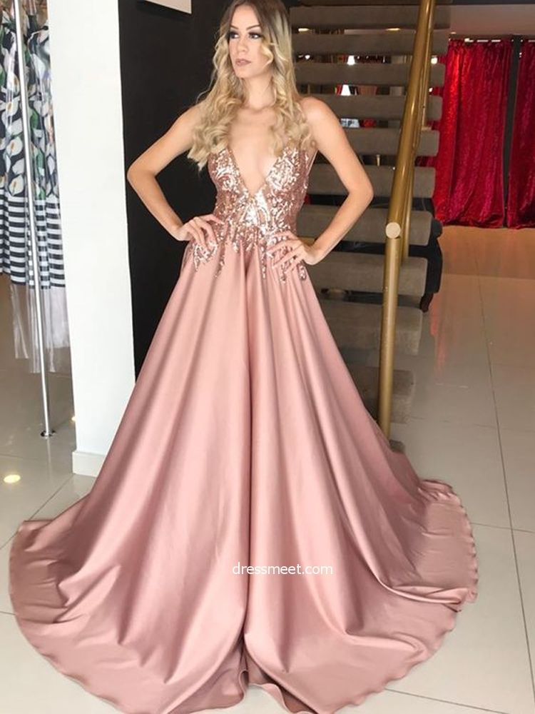 e7a76f2d0cd Gorgeous Ball Gown V Neck Spaghetti Straps Blush Sequins Lace Long Prom  Dresses