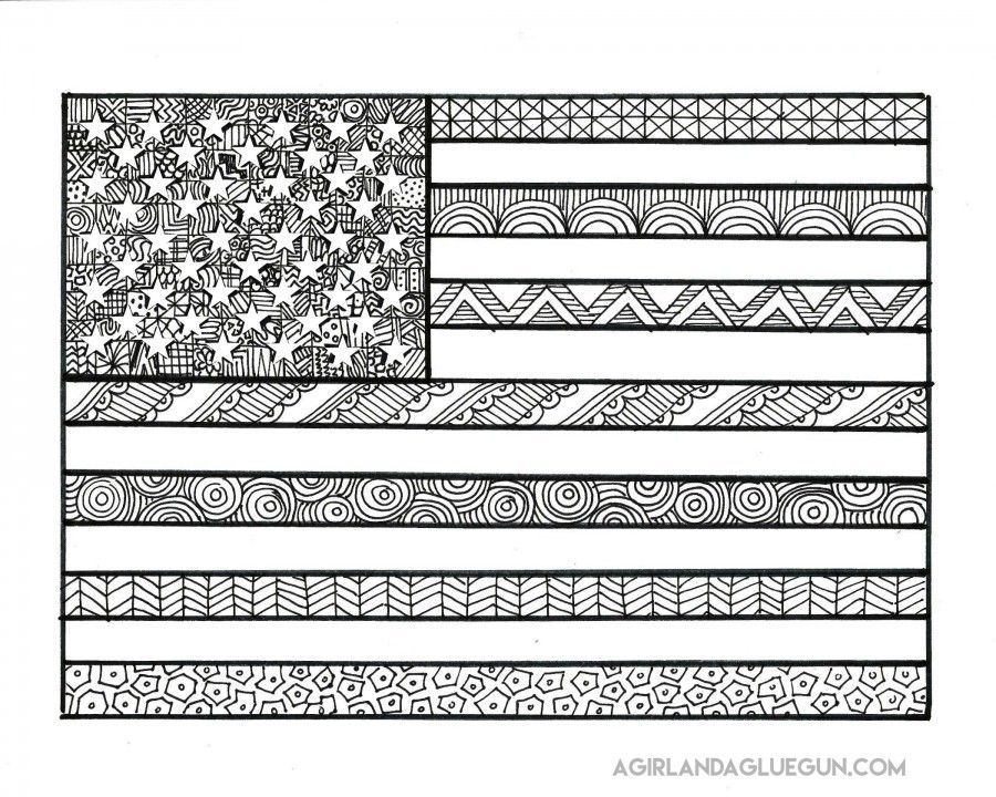 Zentangle Americana Coloring Pages Google Search Flag Coloring