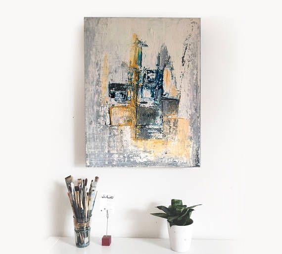 Hivernal peinture acrylique réalisée à la spatule sur toile Ma