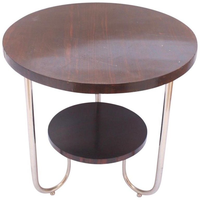 Bauhaus Round Palisander Side Coffee Table In The Style Of Josef