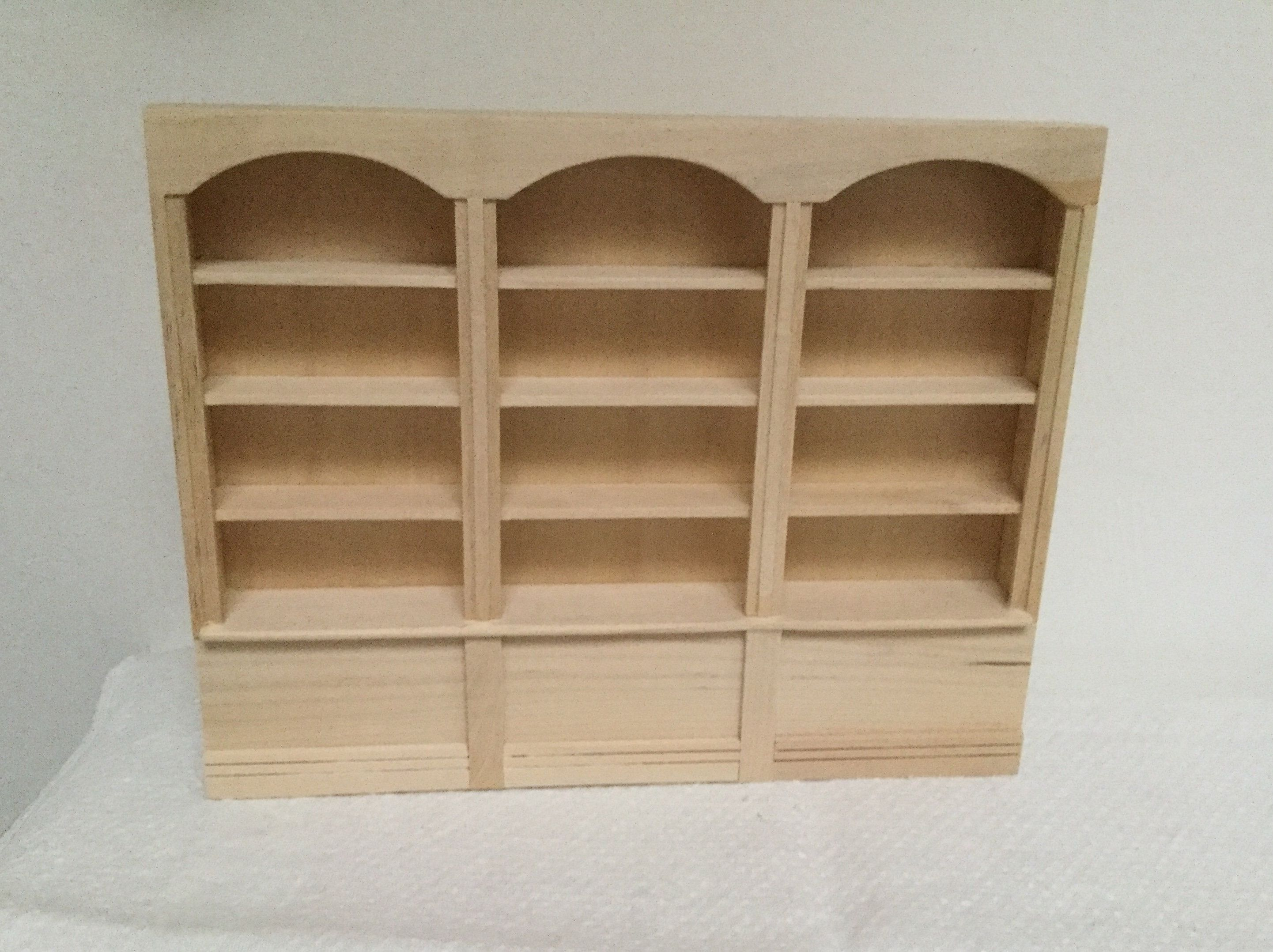 Sold Dollhouse Miniature Triple Bookcase 1 12 Scale Unfinished