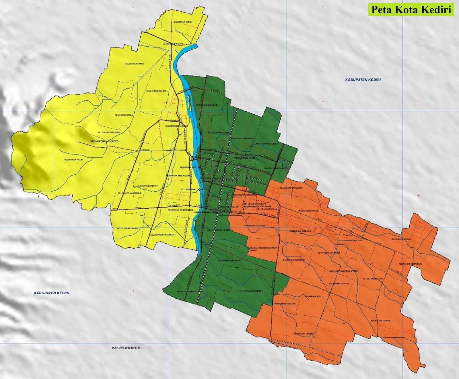 Peta Kota Kediri Gambar Hd Lengkap Dan Keterangannya Peta Kota Peta Gambar
