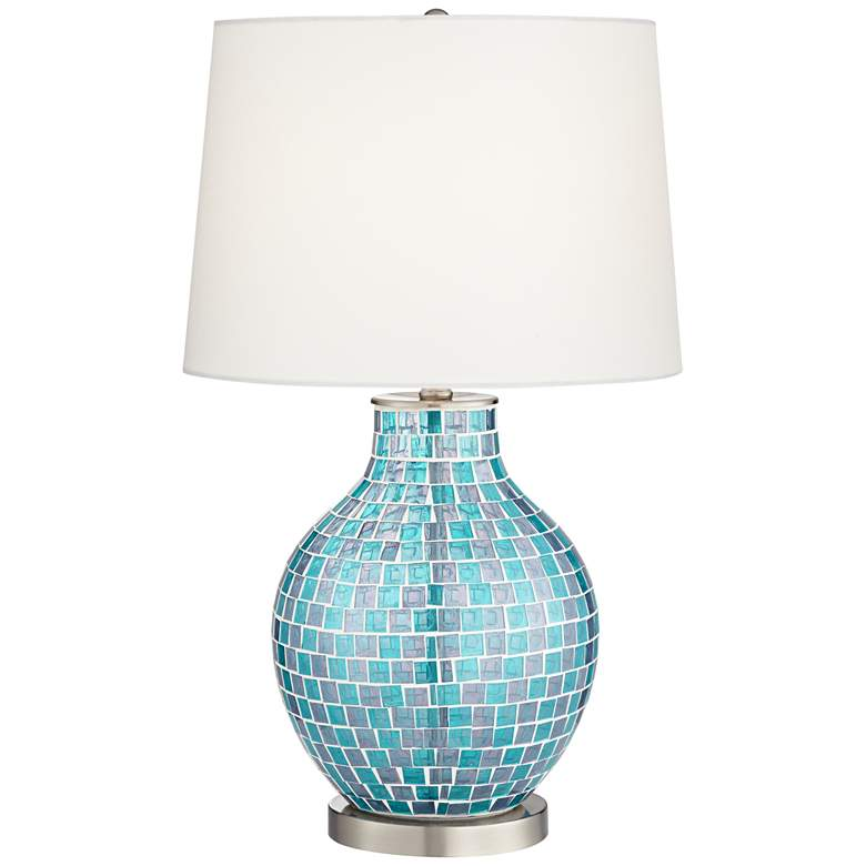 Teal Blue Glass Mosaic Jar Table Lamp 2t937 Lamps Plus In 2020 Lamp Jar Table Lamp Mosaic Lamp #teal #lamps #for #living #room
