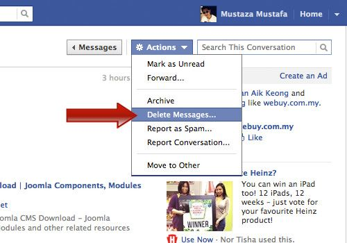 How To Mass Delete All Facebook Messages Hongkiat Messages Delete Facebook Facebook