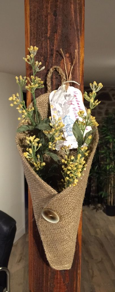 Burlap dried flower wall sconce given as hostess gift ... on Candle Wall Sconces With Flowers id=68330