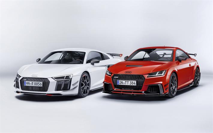 Lataa kuva Audi TT RS, viritysosia, Punainen TT, valkoinen TT, urheilu autot, urheilu coupe, Audi