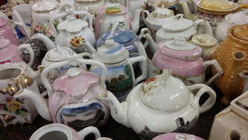 Tea pot heaven. A typical sight here at Bourne End Auction Rooms