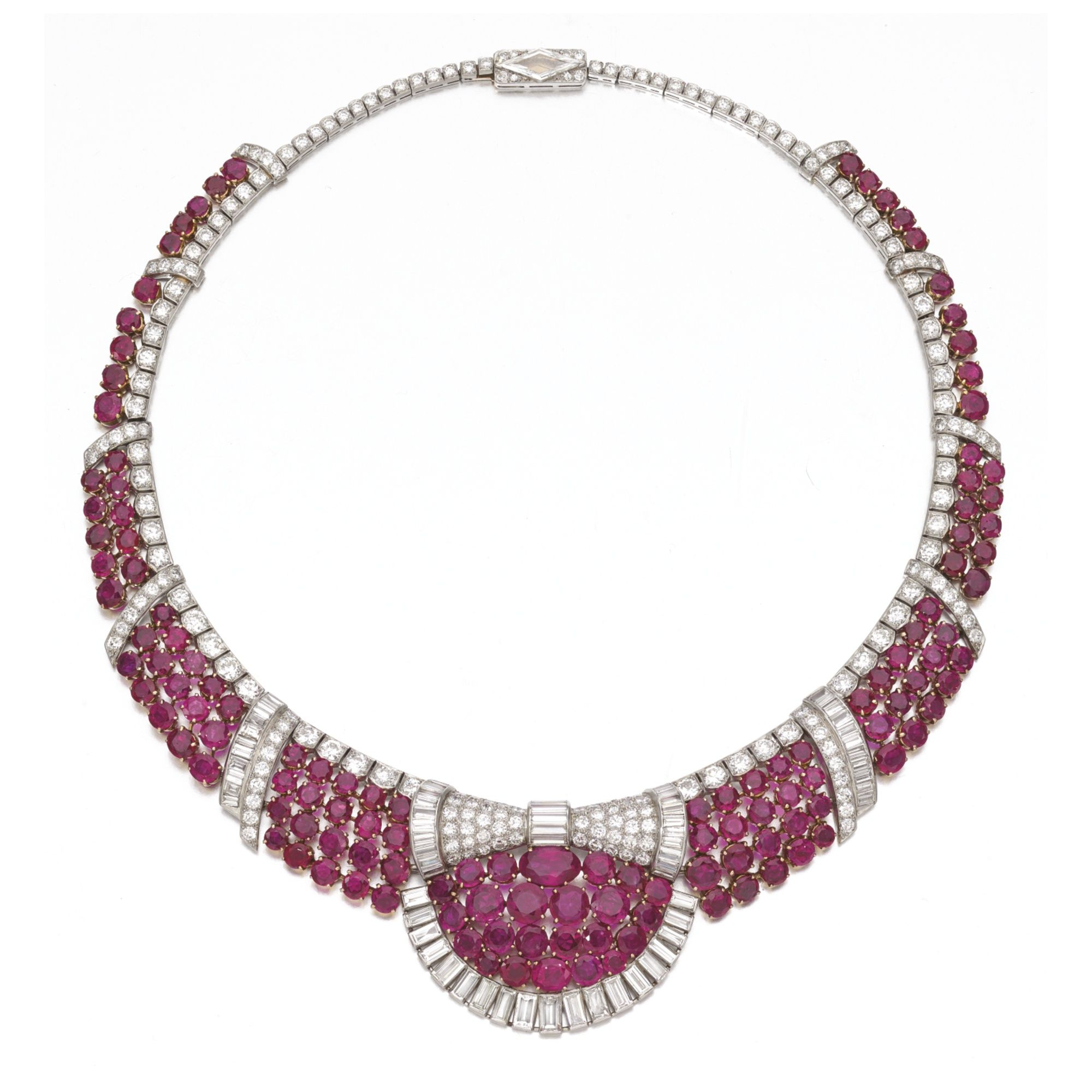 9c89afaa49c Attractive ruby and diamond necklace Of geometric open work design ...