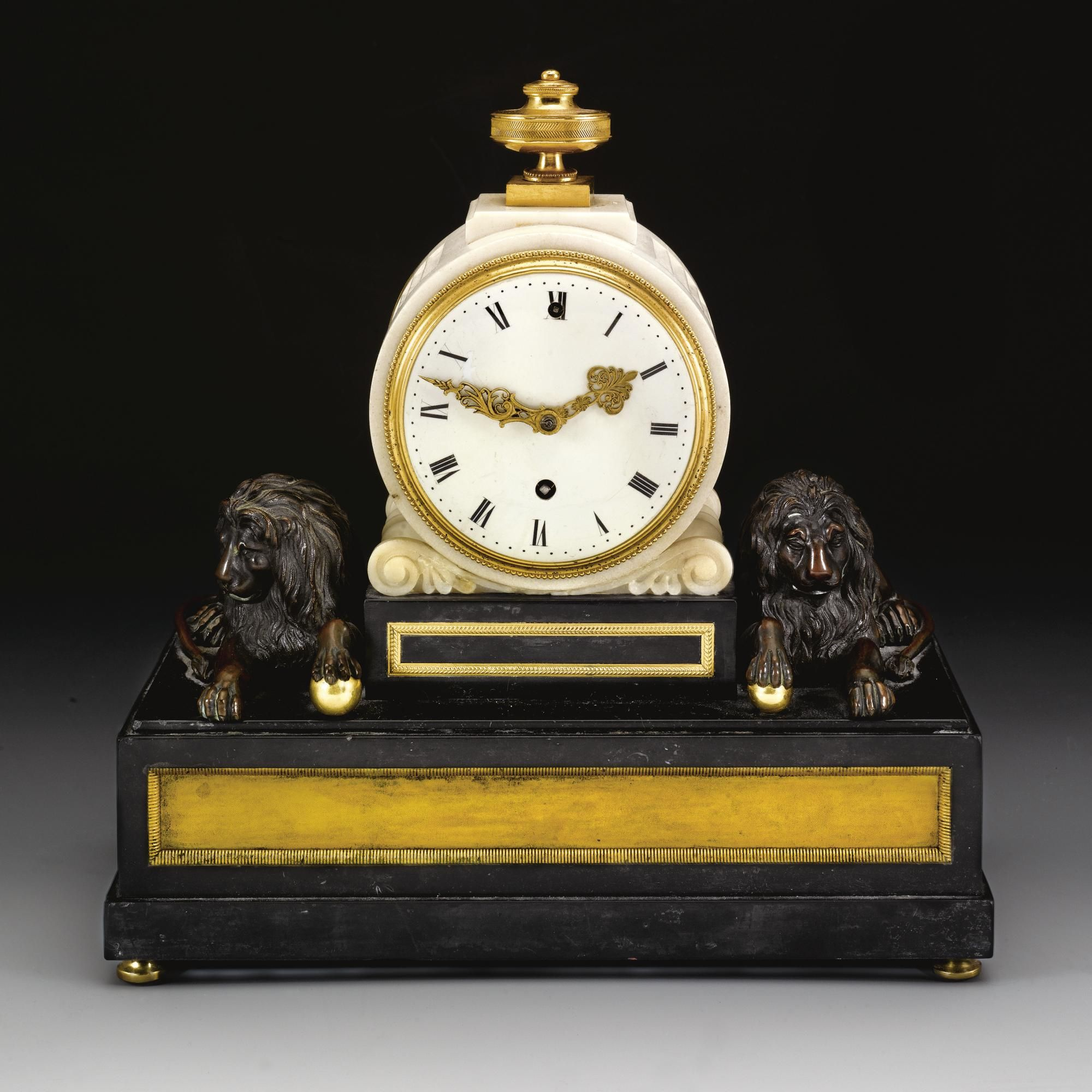 Vulliamy No 318 A Small Ormolu And Patinated Bronze Mounted White And Black Marble Mantel Timepiece London Circa 1800 3 Inch Restored Enam Clocks Black