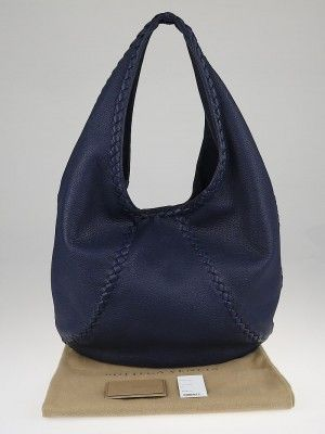 0b9ced7d9686 This fabulous Bottega Veneta Bering Blue Cervo Leather Hobo Bag makes a  perfect everyday carryall. This dark navy blue Cervo hobo has a chic