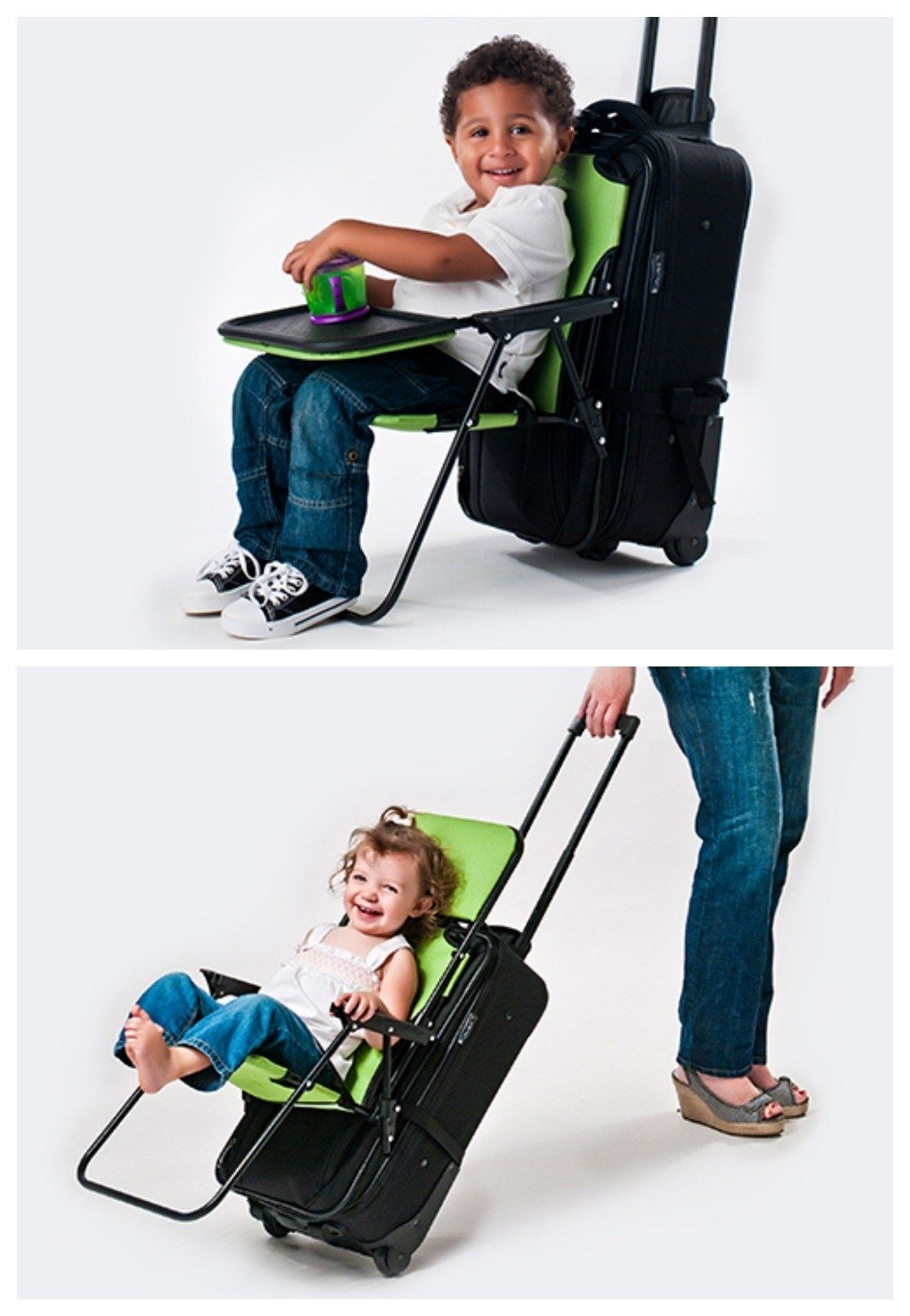 Car Seat Travel Bag With Bonus Strap That Converts Suitcase Into Rolling Stroller