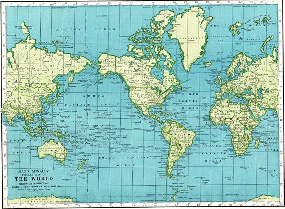 Vintage Map of The WORLD Map 1949 Gallery Wall Art 1940s | Maps of