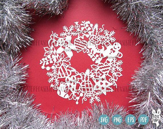 Christmas Svg Wreath Blank Circle Frame Cutting File Papercut