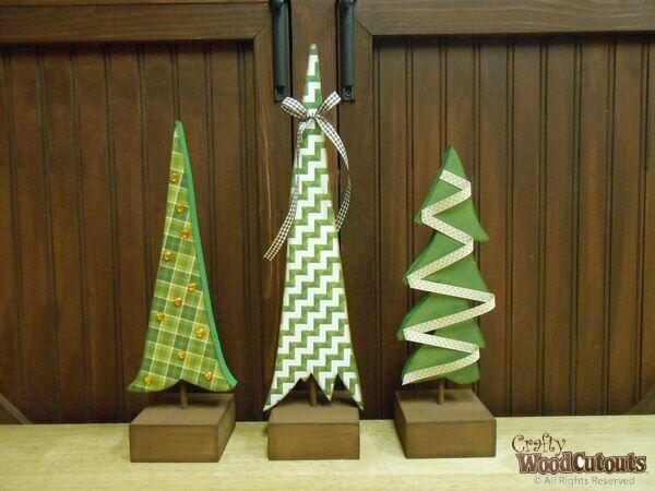 3 Christmas Trees On Dowels. Christmas Tree CraftsChristmas WoodChristmas  ...