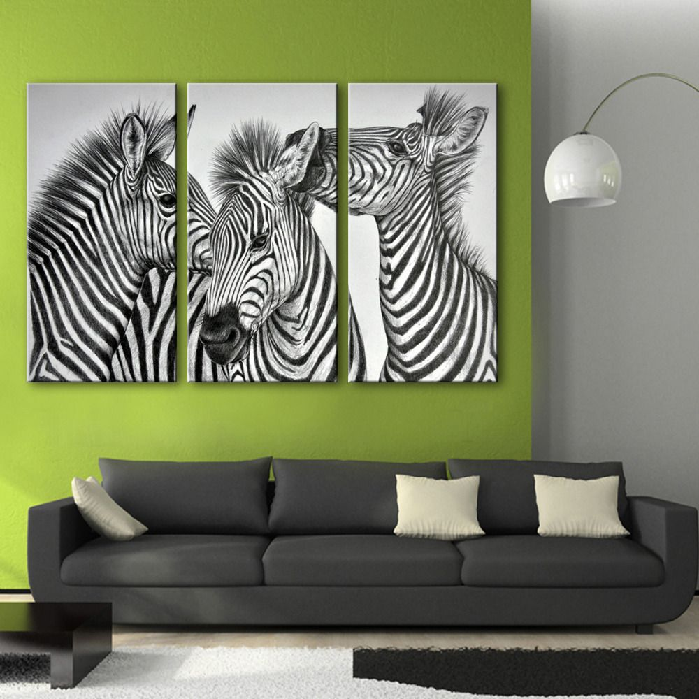 Free Shipping E-HOME Oil Painting Three Zebra Decoration Painting Home Decor On Canvas Modern Wall Prints Set Of 3